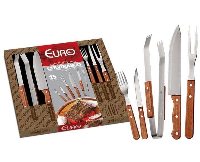 Kit para Churrasco em Madeira Euro 15 Peças – BBQW-15